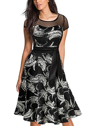 Abstract Print Prom Dresses (Tuliplazza Women Printed Tunic Slim Prom Knee Length Cocktail Party Swing Dress)