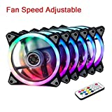 MEEYO RGB Case Fan, 120mm Wireless Addressable LED Fan PC Computer Cases CPU Coolers Radiators RF Remote Controller, Dual Halo Edition, Adjustable Fan Speed Color, 6 Pack