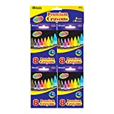 BAZIC 8 Premium Color Crayons 72 Packs of 4Pcs
