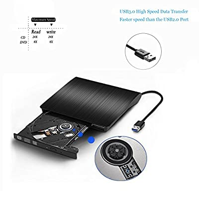 Rioddas External CD Drive, USB 3.0 Portable CD/DVD +/-RW Drive Slim DVD/CD ROM Rewriter Burner Compatible with Laptop Desktop PC Windows Linux OS Apple Mac(Black)