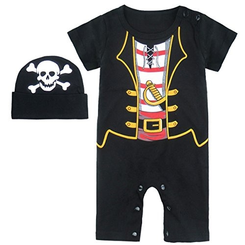 Mombebe Baby Boys' Pirate Halloween Costume Romper with Hat (0-6 Months, Pirate)