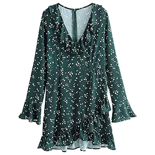 KCatsy Plunge Neck Long Bell Sleeve Ruffle Floral Print Women Mini Dress Deep Green]()