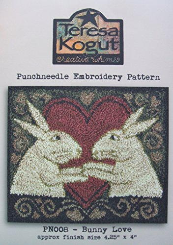 Bunny Love PN008 Punchneedle Punch Needle Embroidery Easter Rabbit Teresa Kogut Pattern by Teresa Kogut