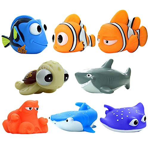 - MC TTL 8 PCS Finding Dory Nemo Squirt Bath Squirters Toys Figures for Kids Baby Shower Swim