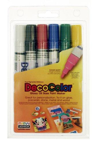 Uchida 300-6A 6-Piece Decocolor Broad Point Paint Marker (Deco Marker)