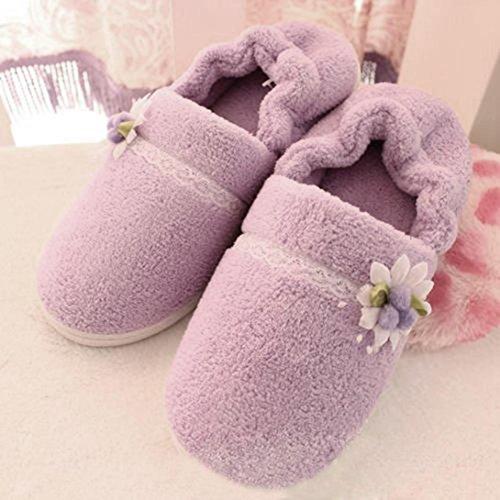 Euone Vrouwen Thuis Bloem All-inclusive Warme Comfortabele Zwangere Vrouwen Schoenen Paars