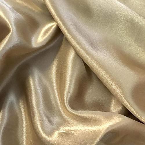 Gold Drapery Fabric - mds Pack of 10 Yard Charmeuse Bridal Solid Satin Fabric for Wedding Dress Fashion Crafts Costumes Decorations Silky Satin 44