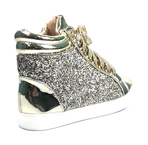 Voor Altijd Link Dames Glitter Fashion Sneakers (10, Gold Sparkle-25)