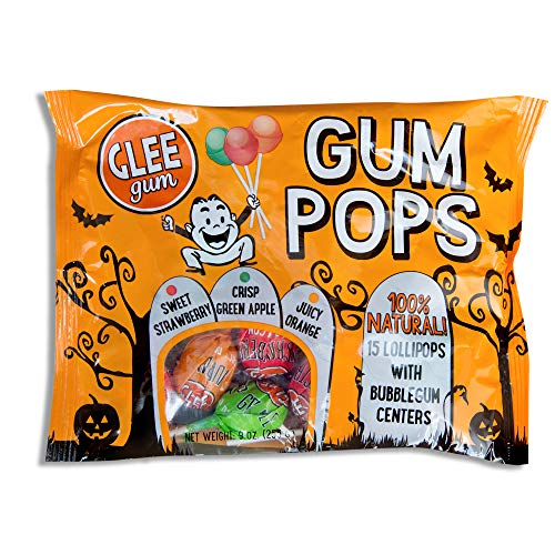 Glee Gum All Natural Halloween Pops with Bubblegum Centers, Sweet Strawberry, Crisp Green Apple, and Juicy Orange, Bag of 15 Pops