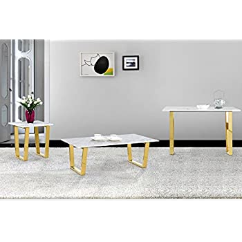 "Meridian Furniture 212-C Cameron Rich Gold Stainless Steel Coffee Table with Genuine Marble Top, 48"" L x 24"" D x 16"" H, Gold"
