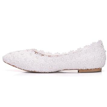 Mujer Boda Nupcial Zapatos Mocasines Blanco Pisos Cordón Perla Ponerse Zapatillas Resplandecer Bajo Talones Señoras Ballet Tamaño 35-42: Amazon.es: Deportes ...