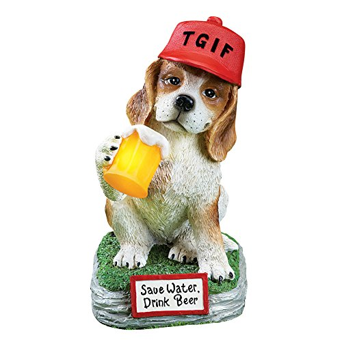 TGIF Funny Dog Garden Statue Outdoor Decoration with Solar Lighted Beer Mug