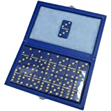 Avery Dominoes in Blue Leatherette Case - Double Six D6 Game Set - 28 Urea Domino Pieces