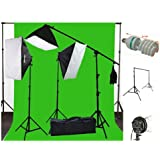 ePhoto 10 x 20 Muslin Chromakey Green Screen Background Support Stand Kit 2700 Watt Hair Light Boom Stand Studio Photo Video Lighting Kit H604SB-1020G