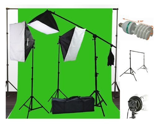 ePhoto 10 x 20 Muslin Chromakey Green Screen Background Support Stand Kit 2700 Watt Hair Light Boom Stand Studio Photo Video Lighting Kit H604SB-1020G by ePhoto