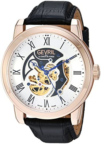 Gevril Men s Vanderbilt Swiss-Automatic Watch with Leather Calfskin Strap, Black, 22 Model 2694