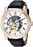 Gevril Men's 'Vanderbilt' Swiss Automatic Steel-Two-Tone and Leather Casual Watch, Color:Black (Model: 2694)