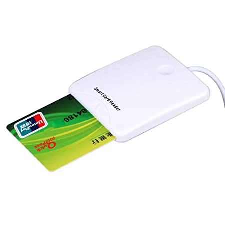 DGdolph White Abs USB Contact Smart Chip Card IC Cards Reader with Sim Slot White