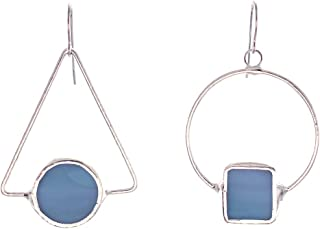 product image for Mismatched Stained Glass Earrings, Denim Blue, Handmade in the USA