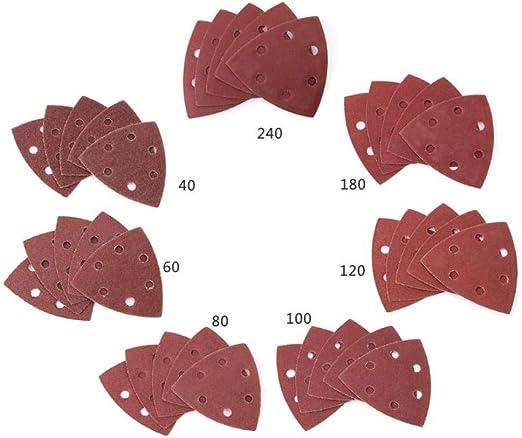 pulido 240 90 x 90 x 90 mm 6 agujeros Papel de lija triangular /óxido para lijado 40