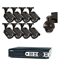 Q-See Surveillance System QTH916-9AH-1 16-Channel HD Analog DVR with 1TB Hard Drive, 8-720p Security Cameras, 1-720p PT Camera (Black)