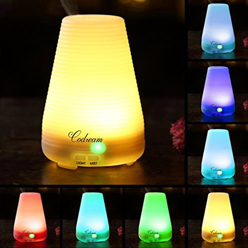 - Aromatherapy Essential Oil Diffuser Codream 100ml Aroma Cool Mist Ultrasonic Humidifier with Waterless Auto Shut Off, Quiet Operation and Automatic 7 Colors Changing LED Light (BPA Free)