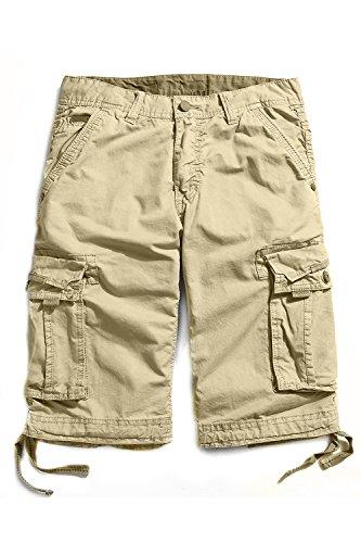 Cyparissus Men's Washed Cotton Premium Twill Cargo Shorts (34, Khaki) School Mens Short
