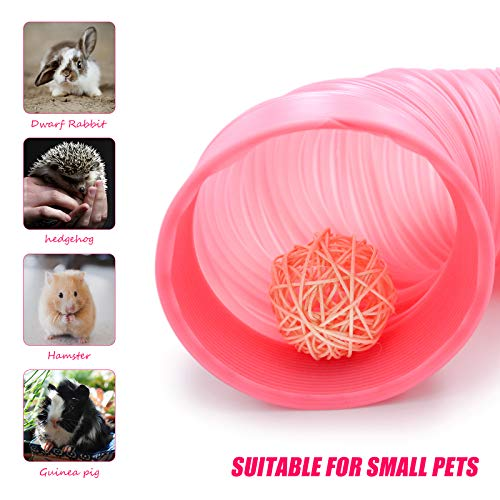 Roundler Small Animal Tunnel, 2 Pack Collapsible Plastic Guinea Pigs Tube Tunnel&3 Pack Grass Balls,Fun Toys for Hiding Training Chinchillas, Ferrets, Guinea Pigs, Gerbils, Hamsters, Dwarf Rabbits