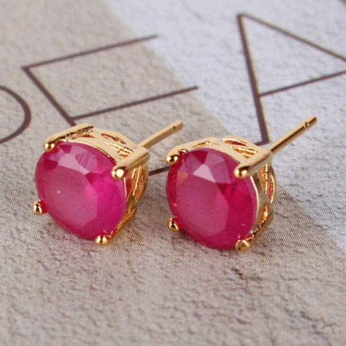 Pretty New Yellow Gold Filled Round 4 Prong 7mm Ruby Red CZ Stud Earrings for Women Lady