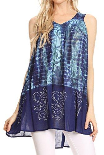 Sakkas 90 - Marie Sleeveless Crinkle V-Neck Tank Top With Print - Turquoise/Blue - (Crinkle Cotton Sleeveless Top)