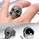 316L Stainless Steel Men Male Punk Floral Skull Biker Ring Trendy Jewelry Size 11