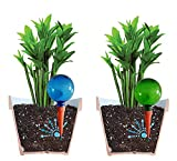 Plantpal Pack of 2 Large BLUE & GREEN Watering Globes, Plant Watering Stakes, Automatic Indoor Potted Plant Watering, Vacation Watering System. Use in 7 - 10 Inch Indoor Plant Pots.