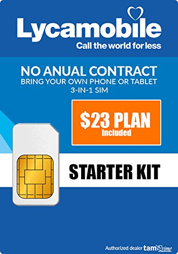 [Lycamobile Preloaded Sim Card with $23 Plan Service Plan with Unlimited talk text and Data] (T-mobile Unlimited Plan)