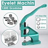 Hand Press Grommet Machine with 3 Dies and 1500Pcs