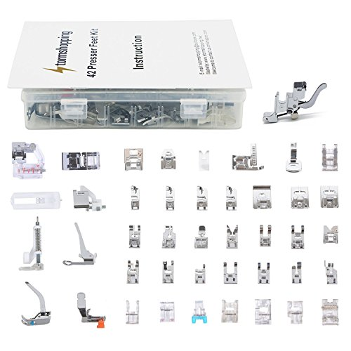 Professional Domestic 42pcs Sewing Machine Presser Foot Presser Feet Set with Low Shank Holder & Manual & Case for Brother, Singer, Babylock, Janome and Kenmore Low Shank Sewing Machines - Edge Leather Dress