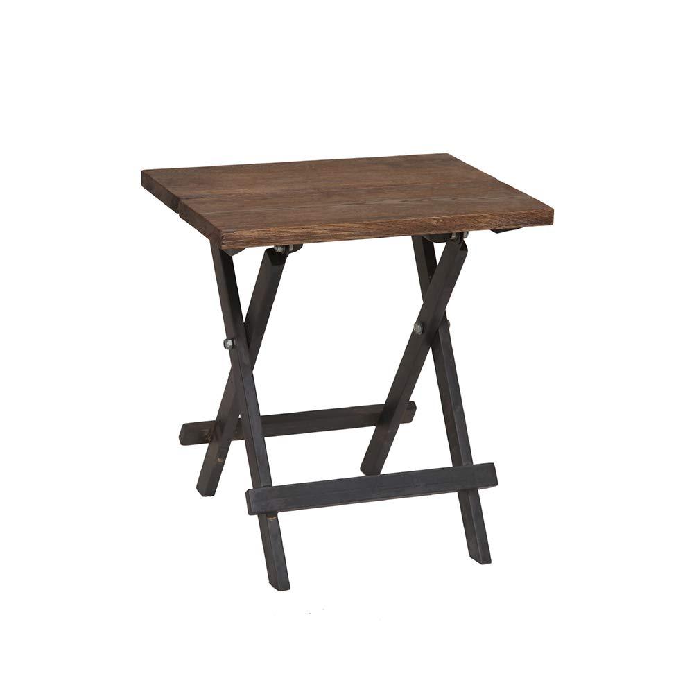 KSUNGB Klapptisch Quadrat Massivholz Retro tragbar Multifunktion Kaffetisch, Computertisch Esstisch Lernen Schreibtisch,Woodcolor,65  65  65cm