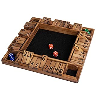 ROPODA 4 Way Shut The Box Dice Game Wooden (2-4 Players) for Kids & Adults [and Black Felt 4 Sided Wooden Board Game, 10 Dice + Game Rules] Amusing Game for Learning Addition, 12 inch Stained Wood