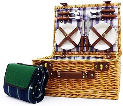 Henley 4 persona o cama de matrimonio juego de cesta mimbre cesta de Picnic con rojo, blanco y azul forro con accesorios y a verde Picnic manta de forro polar resistente al agua ideas de regalo para e