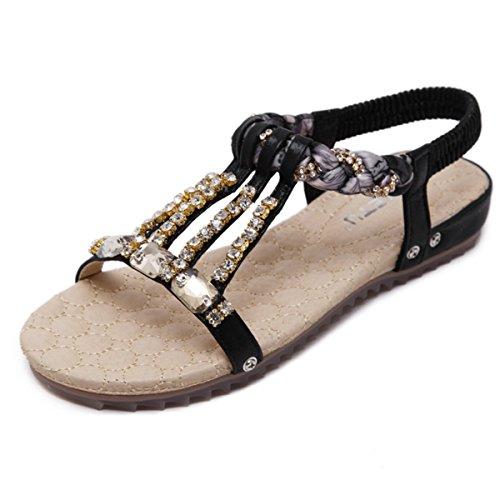 Perlées Toe en Noir Clips Mode Bohème Chaussures de Décoracté Sandales Plats Sandales Casuel Femme Style Talon Fanessy Plage de Yx6SU