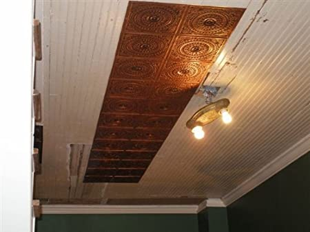 amazoncom very cheap decorative plastic ceiling tiles lowest price ceiling tiles by us inc 128 antique copper fire rated can be glue on any flat - Decorative Ceiling Tiles