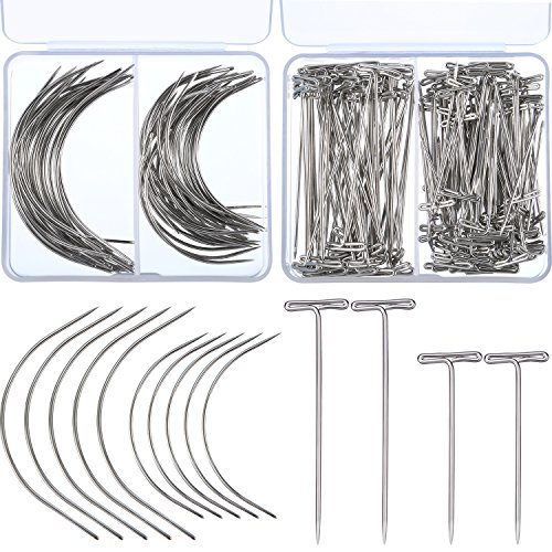 Boao 200 Pieces Wig Making T Pins Needles Set and C Shaped Curved Hand Sewing Needles for Carpet Leather Canvas Repairing, Blocking Knitting, Modelling and Crafts