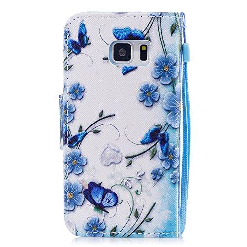Kanten X Euwly Edge Tynn Fargerik S7 Med Ultra Dyr Sak Samsung Galaxy Sommerfugl Dekselet Håndreim Stylus For Svart Blomst Lommebok Preget Penn Skinn Tre 1 Pu CBrqwxCR