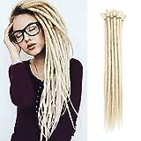 (US) 20 inch 100% Handmade Dreadlocks Extensions Fashion Reggae Hair Hip-Hop Style Soft faux locs Crochet Braiding Hair For Women/Men (Pack of 10Pcs, Pale Blonde)