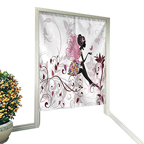"fengruiyanjing Linen Cotton Door Curtain Flower Fairy with Butterflies Noren Doorway Curtain Tapestry 33.5"" Wx59 L"