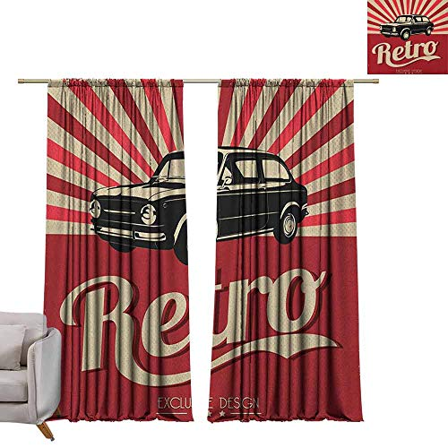 berrly Tie Up Window Drapes Living Room Cars,Retro Poster Design Nostalgic Black Car Automotive Industry Old Fashioned Grunge, Beige Ruby Black W84 x L108 Pocket Thermal Insulated Tie Up Curtains