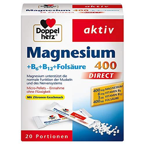 더블 하트 마그네슘 400 직접 + B6 + B12 + 엽 산 (20 팩)