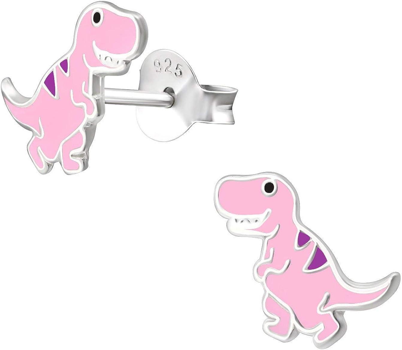 Hypoallergenic Sterling Silver Little Dinosaur Stud Earrings for Kids Nickel Free