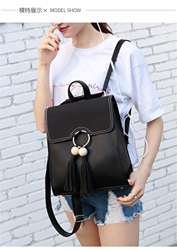 bandoulière double MSZYZ à la mode personnalité Sac noir sac de OWFaaTS