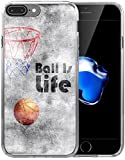 Iphone 8 Plus Case / Iphone 7 Plus Case / IWONE Apple Iphone 7/8 Plus Case Tpu Skin Cover Protective Rubber Silicone + Creative Painting Basketball Quotes Ball Is Life