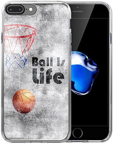 8 Plus Case/7 Plus Case/IWONE Designer Non Slip Rubber Durable Protective Skin Transparent Cover Compatible with iPhone 7/8 Plus + Creative Painting Basketball Writings Sports ()